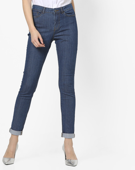 Mid-Rise Jeans With 5-Pocket Styling By Vero Moda ( Fuschiablue )