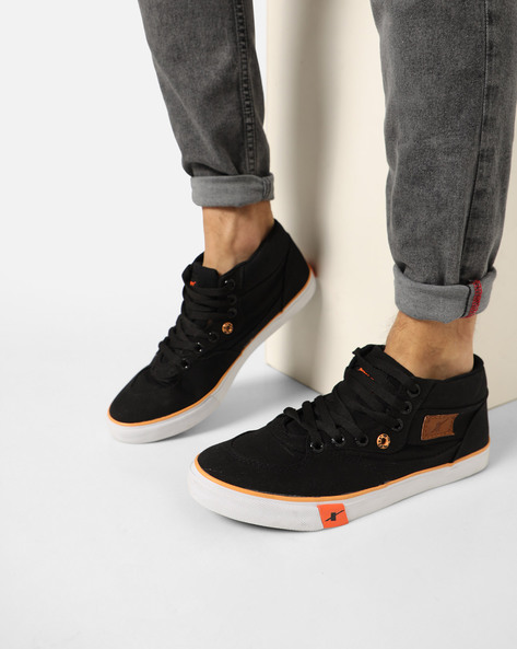 Casual Mid-Top Lace-Up Shoes By SPARX ( Black )