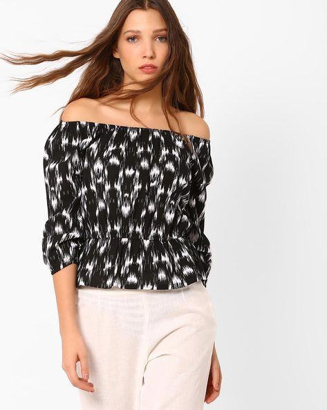 Printed Off-Shoulder Top By AJIO ( Black )
