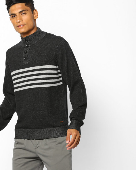Knitted Sweat Shirt With Ribbed Hems By AJIO ( Black )