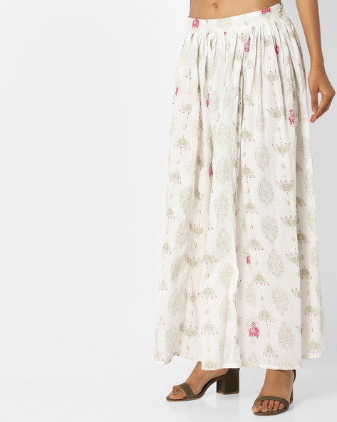 Printed Skirt With Drawstring Waist By AJIO ( Offwhite )