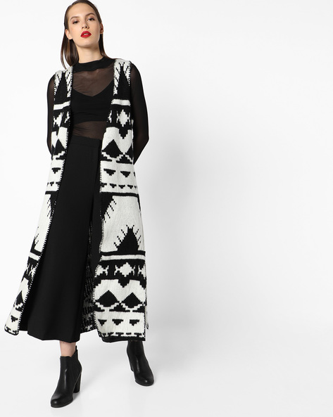 Open-Front Longline Cardigan By INFLUENCE ( Blackwhite )
