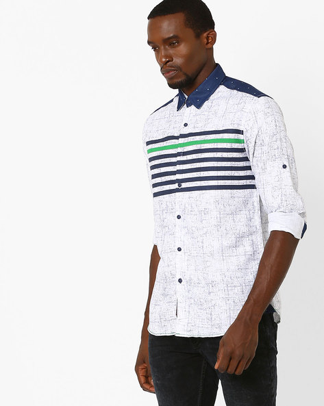 Printed Slim Fit Shirt By The Indian Garage Co ( Navy )