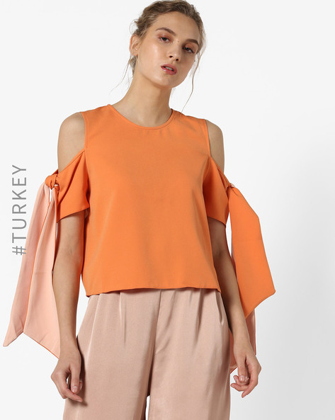 Cold- Shoulder Top With Tie-up Sleeves By TRENDYOL ( Orange )