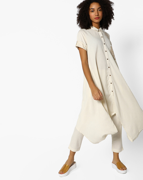Shirt Tunic With Roll-Tab Sleeves By PE IW Fusion ( Natural )