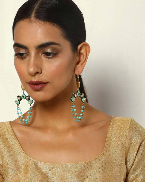 Kundan Enamel Brass Pearl String Earrings By Courtyard ( Multi )