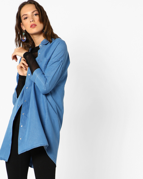 Boxy Shirt With Drop-Shoulder Sleeves By AJIO ( Lightblue )