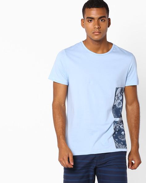 Placement Print Slim T-shirt By AJIO ( Lightblue )