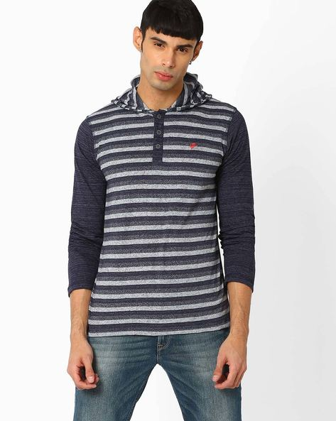Striped Slim Fit T-shirt With Hood By Killer ( Navy )