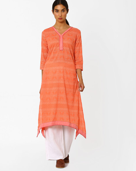 V-Neck Kurta With Dipped Hem By AJIO ( Coral )
