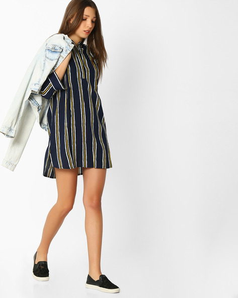 Striped Tunic With Mandarin Collar By FIG ( Ltblue )