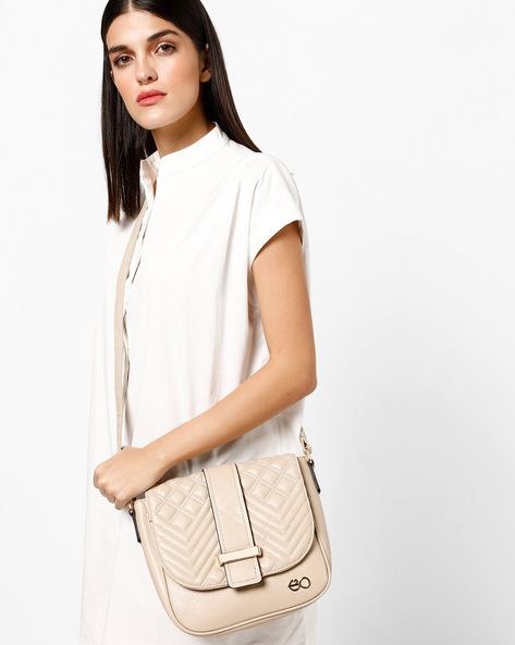 Sling Bag With Magnetic Snap Closure By E2O ( Beige )