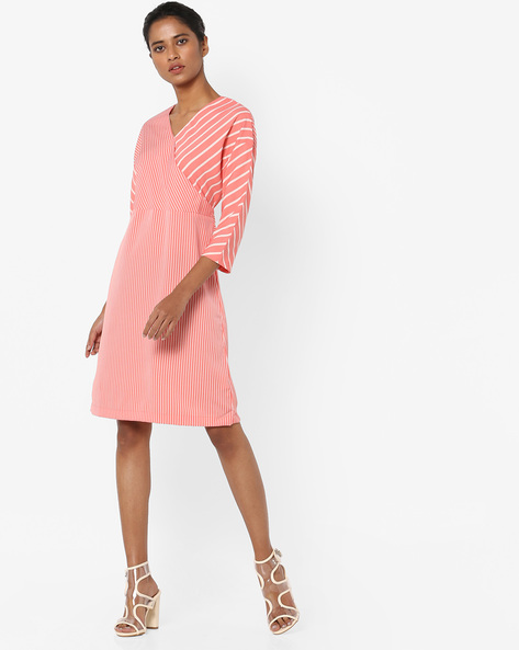 Striped A-line Dress By AJIO ( Coral )