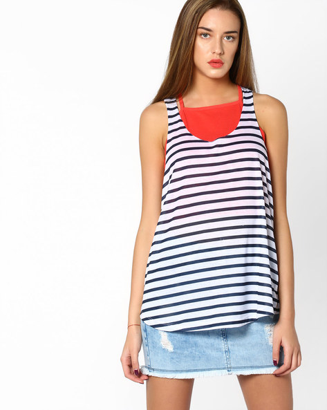 Striped Tank Top With Racerback By Ginger By Lifestyle ( Offwhite )
