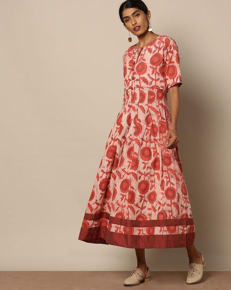 Printed Cotton Maxi Dress By Miar Designs ( Orange ) - 460109291001