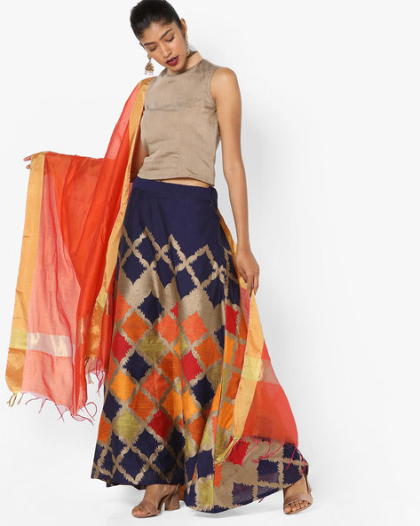 Semi Stitched Lehenga Choli And Dupatta By Parmita ( Blue )
