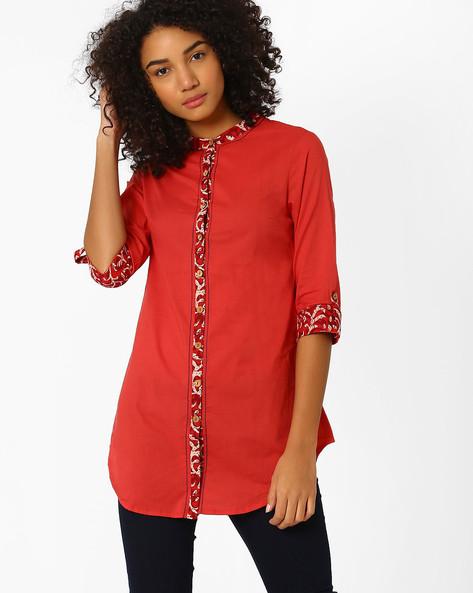 Cotton Kurti With Mandarin Collar By AJIO ( Red )