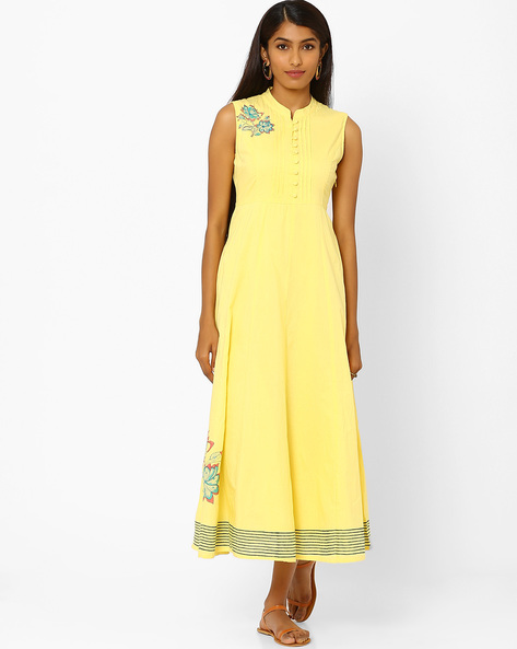 Sleeveless Maxi Dress By AJIO ( Yellow )