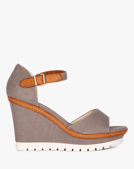 Open-Toe Wedges With Ankle Strap By AJIO ( Grey )