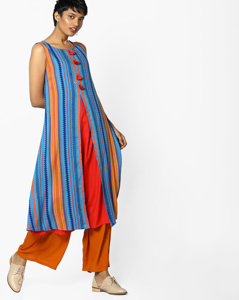 Printed Kurta With Tassels By FUSION ( Blue )