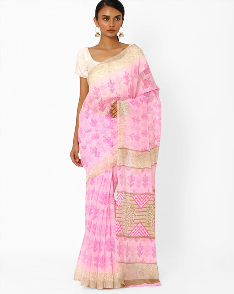 Printed Saree With Contrast Border By Akoya ( Pink )