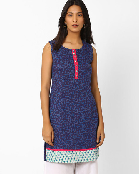 Printed Kurta With Contrast Hem By AJIO ( Navyblue )