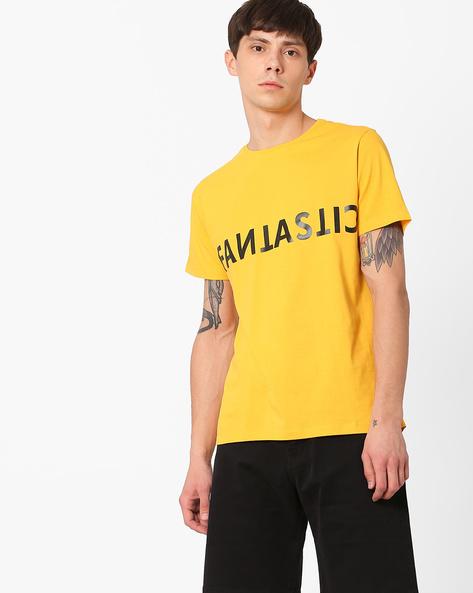 Crew-Neck Slim T-shirt By AJIO ( Mustard )