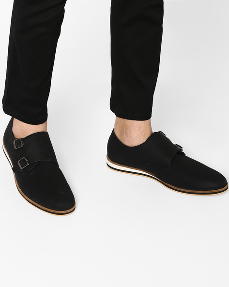 N9-Treated Casual Shoes With Monk Straps By AJIO ( Black )