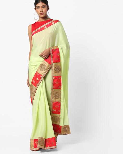 Chiffon Saree With Heavy Border By Vastrangi ( Green )