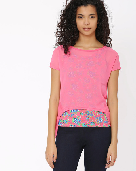 Floral Print Layered Top By Honey By Pantaloons ( Pink )