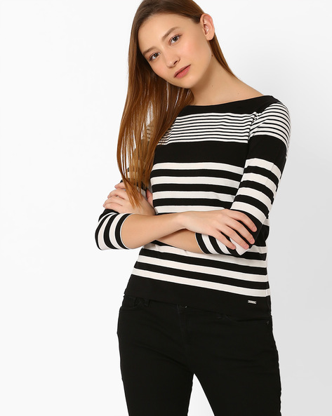 Striped Knitted Top By Only ( Black )