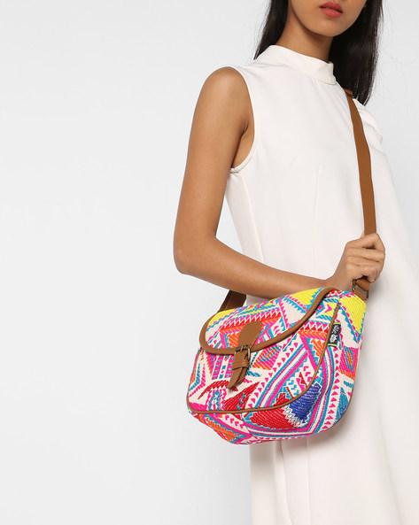Jacquard Sling Bag By Kanvas Katha ( Black ) - 460124261001