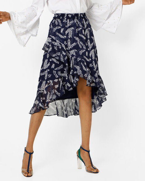 Printed Tulip Skirt With Ruffled Hemline By AMARE ( Blue )