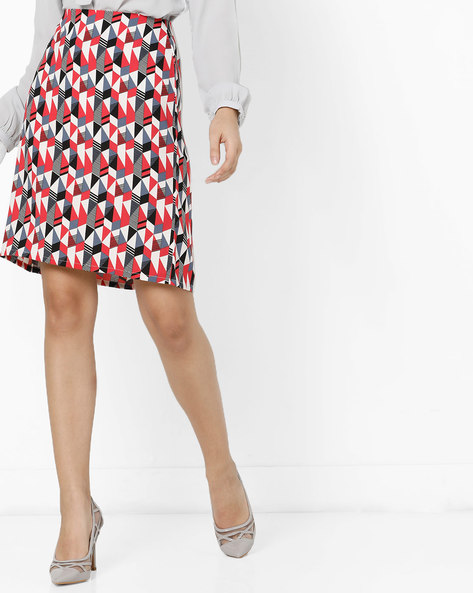 Geometric Print A-Line Skirt By Project Eve WW Work ( Offwhite )