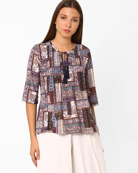 Printed Top With Tie-Up By FIG ( Maroonburg )
