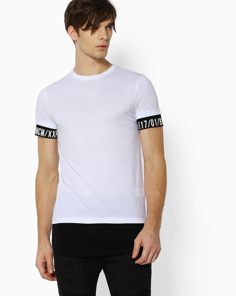 Crew-Neck T-shirt With Contrast Detailing By Celio ( White )