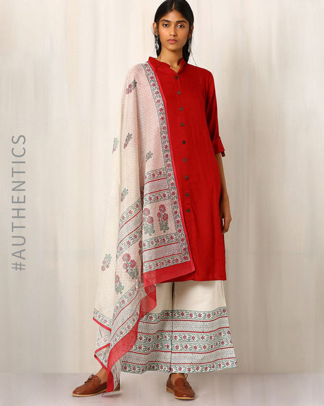 Handblock Print Palazzo Pants & Dupatta By Indie Picks ( Red )
