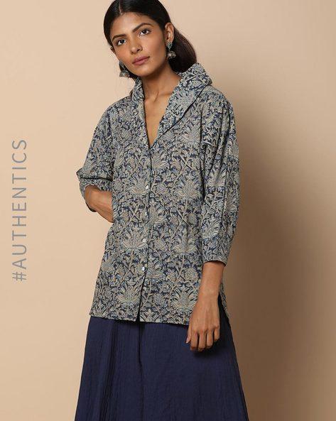 Hand Block Print Kalamkari Cotton Tunic By Indie Picks ( Grey )
