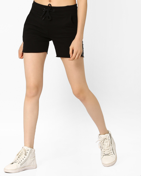 Mid-Rise Shorts With Raw Edges By TEAM SPIRIT ( Black )