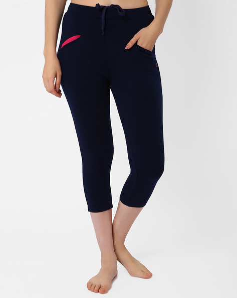 Lounge Capris With Elasticated Waistband By Sweet Dreams ( Navyblue )