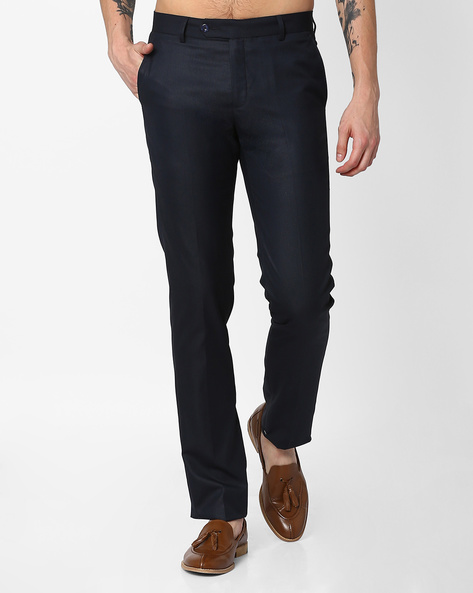 Slim Fit Formal Trousers By British Club ( Navyblue )