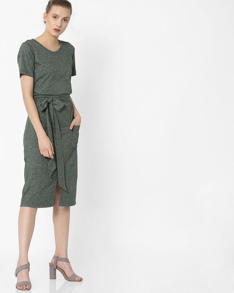 Grindle A-line Dress With Waist Tie-Up By ANONYMOUS CO ( Green )
