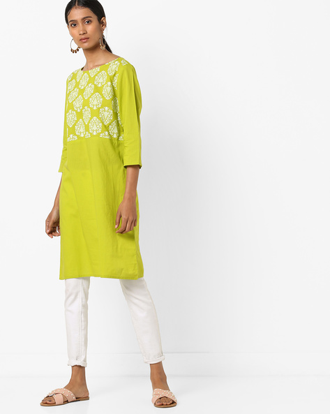 Straight Kurta With Printed Panel By AJIO ( Olive )
