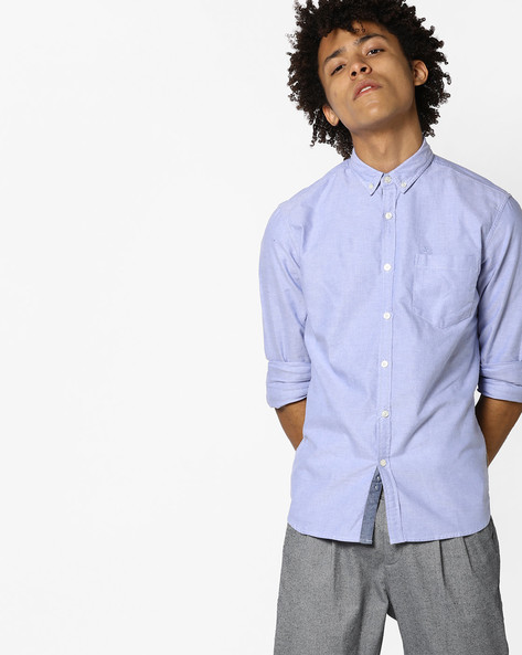 Slim Fit Button-Down Shirt By FLYING MACHINE ( Blue )
