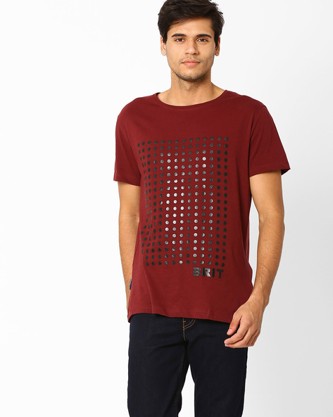 Printed Crew-Neck Slim T-shirt By Blue Saint ( Red )
