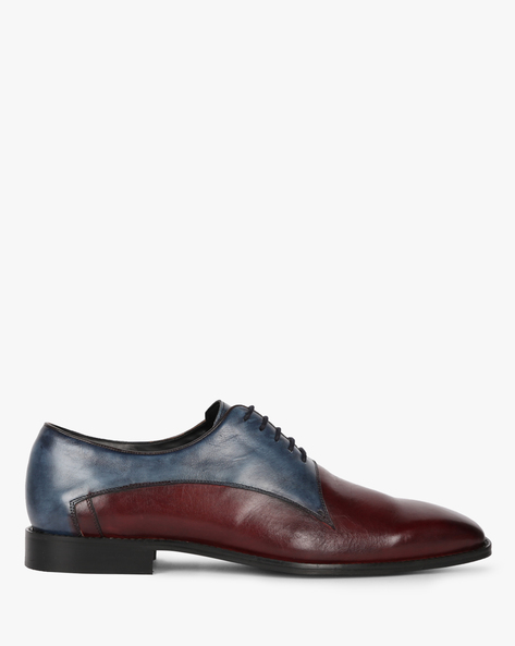 Genuine Leather N9 Treated Dual Tone Oxford Shoes By AJIO ( Maroon )