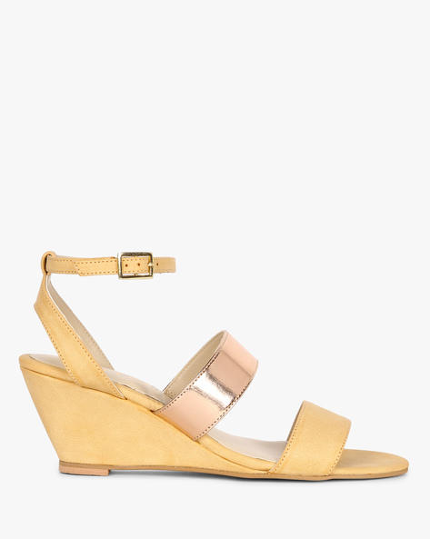 Colourblock Ankle-Strap Wedges By AJIO ( Beige )