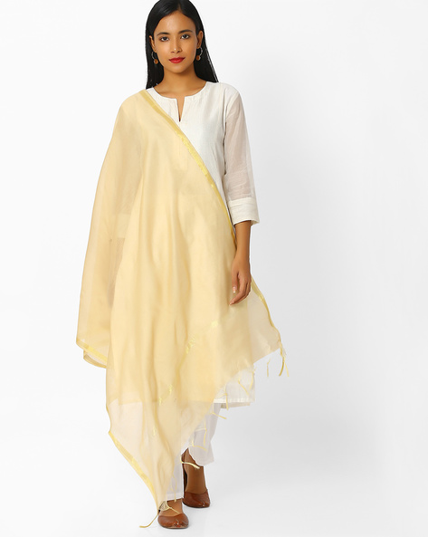 Chanderi Dupatta With Zari Border By Melange By Lifestyle ( Gold )