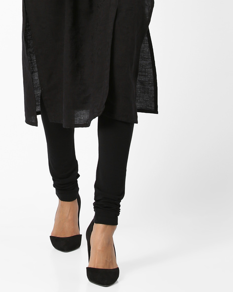Knitted Churidars With Elasticated Waistband By SOCH ( Black )