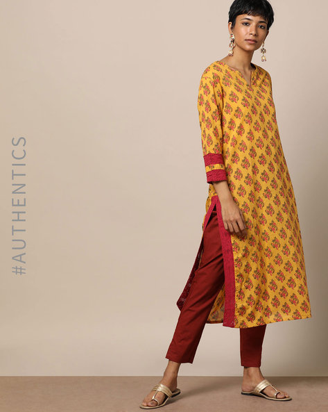 Cotton Handblock Print Kurta With Crochet Lace By Lyla ( Yellow )